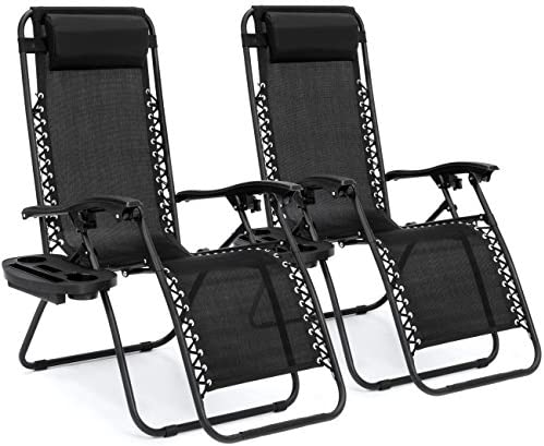 Best Choice Products Set of 2 Adjustable Zero Gravity Lounge Chair Recliners for Patio, Pool w Cup Holders – Black