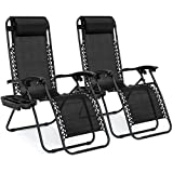 Best Choice Products Set of 2 Adjustable Steel Mesh Zero Gravity Lounge Chair Recliners w/ Pillows and Cup Holder Trays, Black
