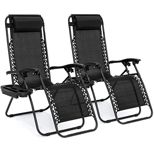 (Best Choice Products Set of 2 Adjustable Zero Gravity Lounge Chair Recliners for Patio, Pool w/ Cup Holders - Black)