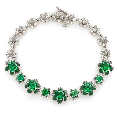 UP LINK Women's Cubic Zirconia 925 Sterling Silver Rhodium Plated Birthstone Bracelets Green by UP LINK