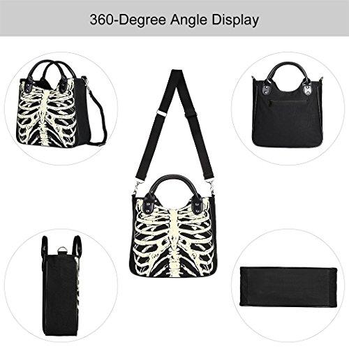 de Ladies de esquelético Bolso Vbiger Messenger Bag Bag de Moda Messenger Fresca Manera la Hombro Bolso Lona de Bolsa Negro wXXAa07q
