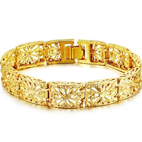 semi gold cuban brc miami hollow box clasp yellow inches bracelet