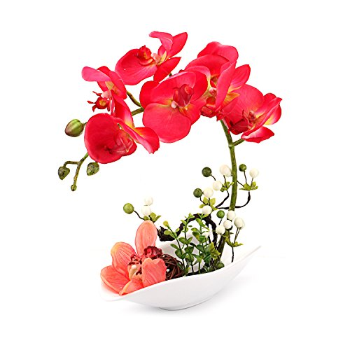 Louis Garden Artificial Silk Flowers 7 Head Simulation Phalaenopsis Bonsai (Simulation of Water) (Red)