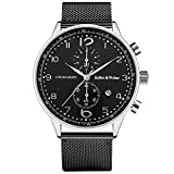 Watches for Men, Men's Quartz Wrist Watch, Chronograph Waterproof Black Silver Stainless Steel Mesh