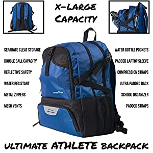 Athletico Soccer Bag/Basketball Backpack - Soccer Backpack & Bags for Basketball, Volleyball & Football | For Kids, Youth, Boys, Girls | Includes Separate Cleat and Ball Compartments (Blue)