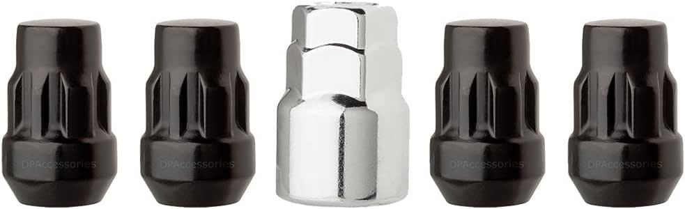 19mm Hex Wheel Lug Nut DPAccessories LCB3B6HE-BK04016 16 Black 12x1.5 Closed End Bulge Acorn Lug Nuts Cone Seat