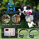 WIEZ Dog Fence Wireless & Training Collar Outdoor 2-in-1, Electric Wireless Fence w/Remote, Adjustable Range, Waterproof, Reflective Stripe, Harmless for All Dogs- 2 Collars (Wireless Dog Fence)