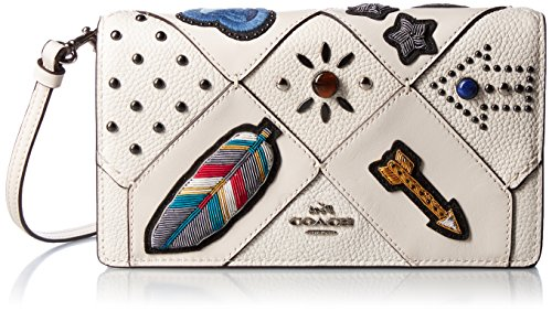 Clutch Over Fold Beaded (COACH Women's Embellished Canyon Quilt Fold-Over Crossbody SV/Chalk Crossbody Bag)