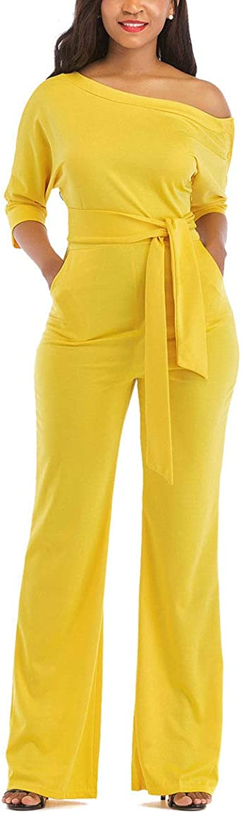 ZOCAVIA Womens Sexy Casual Round Neck Jumpsuits Wide Legs High Waist Long Rompers with Pockets