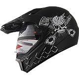 Motocross Dual Sport Off Road Dirt Bike ATV Motorcycle Helmet Skull 406_810 Matt Black w/ Visor (XL)