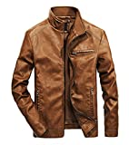 WULFUL Men's Stand Collar Leather Jacket Motorcyle Lightweight Faux Leather Outwear Brown-S