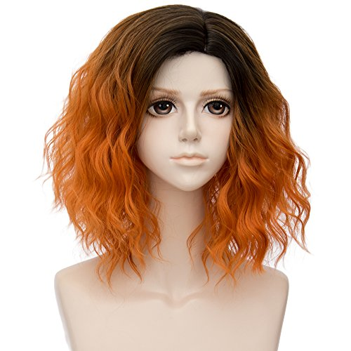 Alacos 35cm Fashion Black Dark Roots Ombre Short Curly Bob Christmas Daily Costumes Wig for Women +Wig Cap (Orange)]()