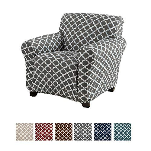 Home Fashion Designs Printed Twill Arm Chair Slipcover. One Piece Stretch Chair Cover. Strapless Arm Chair Cover for Living Room. Brenna Collection Slipcover. (Chair, Charcoal)