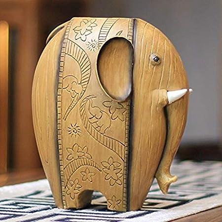 Adornos artesanales ZS Yxsd Ornamento Elefante Escultura Florero de Resina Simulación Arreglo Floral Flor Seca Inicio Vinoteca Decoración