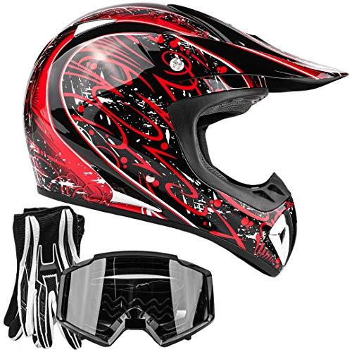 Typhoon ATV MX Helmet Goggles Gloves Gear Combo Black Red Splatter (Small) ()