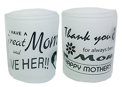 Glass Mother Plaque (Mother's Sentimenal Frosted Glass Candle Holder Set (I Have a Great Mom))
