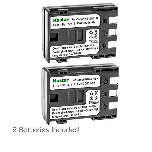 Kastar Battery (2-Pack) for Canon NB-2L NB-2LH NB-2L12 NB-2L14 NB-2L24 and PowerShot G7 G9 S30 S40 S45 S50 S60 S70 S80 DC410 DC420 VIXIA HF R10 HF R100 HF R11 EOS 350D 400D Digital Rebel XT Xti ()