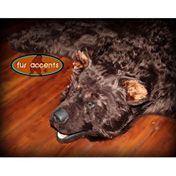 This Item Fur Accents Original Classic Bear Skin Rug With Head / Brown Faux  Fur 5u0027
