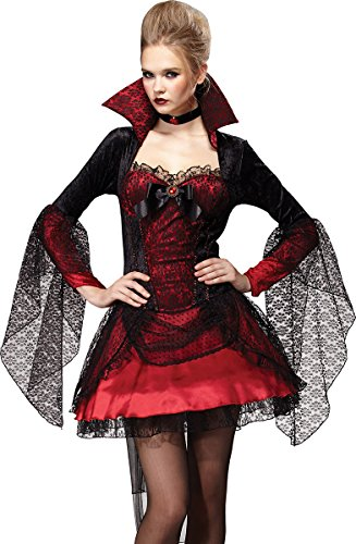 Adult Fancy Costume Party Halloween Vampiress Dark Mistress Complete Outfit - Mistress Of The Dark Costume Uk