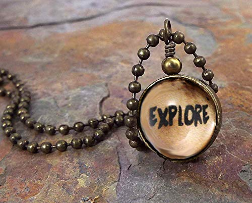 (Explore Glass Ball Quote Pendant Necklace Reversible with Map on Antiqued Brass Ball)