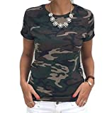 Comfy Women Plus Size Camouflage Strap Classic T Shirt Vest Pullover Army Green M