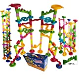 Marble Run Coaster 105 Piece Set with 75 Building Blocks Plus 30 Race Marbles. Learning Railway Construction DIY Maze Toy Game for All the Family, Kids & Toddlers. 105 Total Classic Track Kit Pieces.