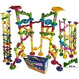 "Marble Run Coaster 106 BIG Elements Kit 76 Blocks+30 Plastic Marbles. Tracks length 194"" Genius Fun Set. Learning Railway Construction. TEVELO DIY Endless Design Maze, Classic Toy for Family."