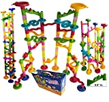 Marble Run Coaster 106 BIG Elements Kit 76 Blocks+30 Plastic Marbles. Tracks length 194'' Genius Fun Set. Learning Railway Construction. TEVELO DIY Endless Design Maze, Classic Toy for Family.