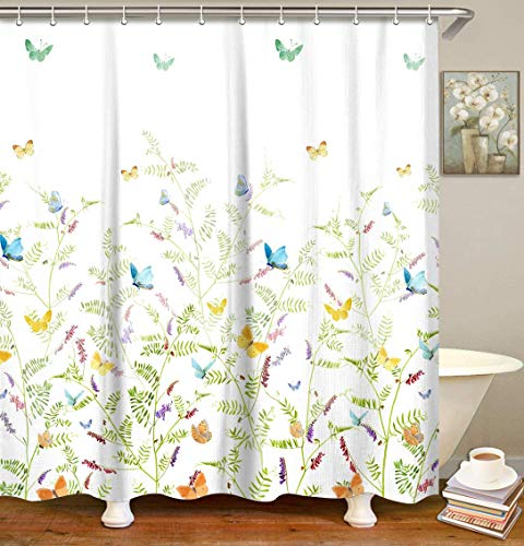 LIVILAN Butterfly Shower Curtain Set with 12 Hooks Fabric Polyester Bath Curtain Home Decoration,70.8