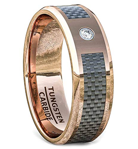 - Duke Collections Rose Gold Tungstgen Ring 8mm Carbon Fiber Cubic Zircon Comfort Fit (11)