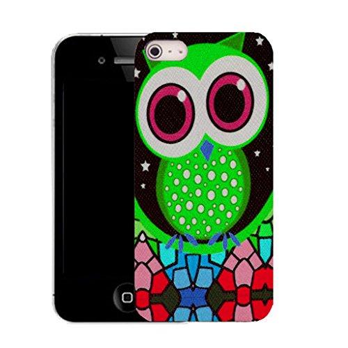 Mobile Case Mate IPhone 4 4S clip on Dur Coque couverture case cover avec Stylet - green mozaic owl Motif