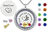 Beffy Aunts & Sisters Gift, 30mm Round Floating Charm Living Memory Locket, Stainless Steel Toughened Glass Pendant Necklace