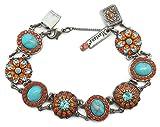 Mariana Swarovski Crystal Silver Plated Bracelet Orange Aqua Oval Flower Mosaic M1079 Serengetti