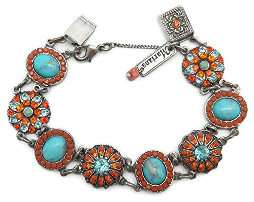 Mariana Swarovski Crystal Silver Plated Bracelet Orange Aqua Oval Flower Mosaic M1079 Serengetti by Mariana