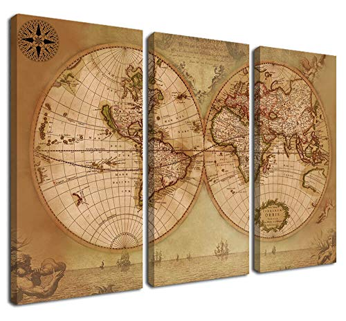 Nautical Canvas World Map Wall Art Beige Nautical Painting Prints, Vintage 3 Panels Abstract Pictures Stretched and Framed Ready to Hang for Living Room Home Office Teens Room Mural Decor