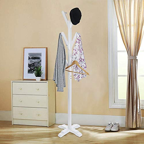 (Clearance Sale!DEESEE(TM)Freestanding Solid Wood Hanger Bedroom Clothes Rack Hanging Clothes Scarf Hat)