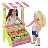 18-inch Doll Furniture | Brightly Colored Kid's Pretend Play Farmer's Market Fruit and Vegetable Stand with 16 Colorful Wooden Food Items and Produce Scale | Fits American Girl Dolls
