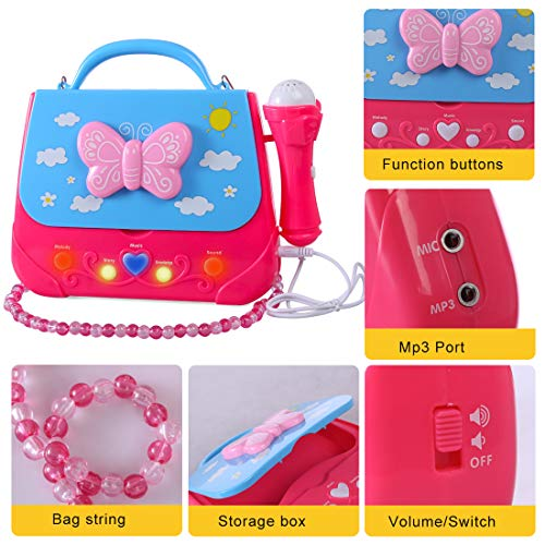 XSHION Karaoke Machine for Girl,Children Portable Musical Bag Karaoke Machine Toys with Microphone Karaoke Player Connect MP3 Smartphone - Butterfly by XSHION (Image #6)