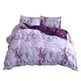NTBED Marble Pattern Duvet Cover Set Queen 3 Pieces(1 Duvet Cover +2 Pillowcases),Microfiber Quilt Cover Printed Bedding Sets with Zipper Closure (Purple, Queen(No Comforter))