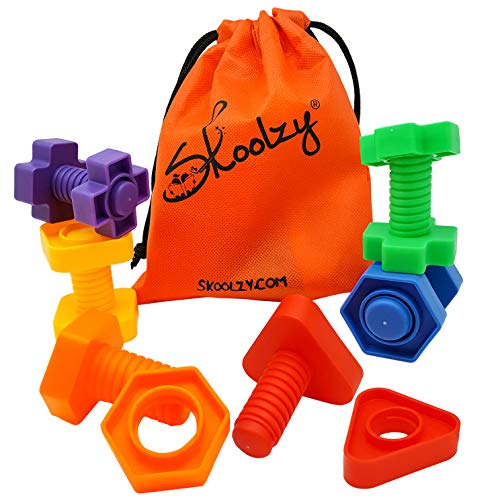 Skoolzy Jumbo Nuts and Bolts Toddler Toys Montessori Toys Building Construction Set   12 pc Occupational Therapy Tools Matching Fine Motor Skills for Toddlers Boys, Girls   Learning Activities eBook