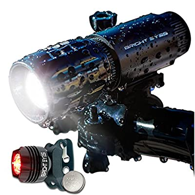 Bright Eyes LED Bike Light Set - 280 Lumens Front Bicycle Headlight With Rear Aluminum Red Tail Light and Spare Mount - WATERPROOF