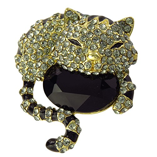 Swarovski Crystal Brooch Striped Cat Design (Green)