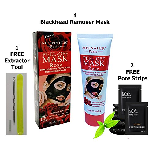 Skin Whitening Pore Minimizing Mask X-Large Size With Two-Pore Strips Blackhead Removal Tool Infused with French Rose Petal Essence Peel Off Skin Whitening Mask Leaves Face Soft and Smooth