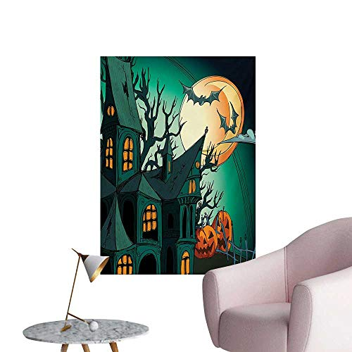 Anzhutwelve Halloween Wall Sticker Decals Haunted Medieval Cartoon Style Bats in Twilight Gothic Fiction Spooky Art PrintOrange Teal W32 xL48 Cool Poster -