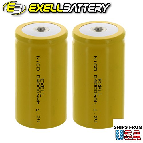 2x Exell D Size 1.2V 4000mAh NiCD Button Top Rechargeable Batteries for high power static applications (Telecoms, UPS and Smart grid), electric mopeds, meters, radios, RC devices, electric tools