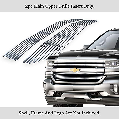 APS Compatible with 2016-2018 Chevy Silverado 1500 Stainless Steel Polished Chrome 8x6 Horizontal Billet Grille Insert C66360S