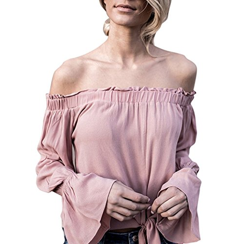 Covermason Mujer Casual Fuera del hombro Camiseta Manga larga Blusa Rosado