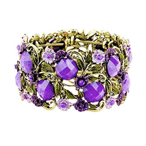 Rosemarie Collections Women's Purple Stone Wide Statement Cuff Bracelet (Antique Gold Tone/Purple)