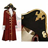1791's lady Men's Pirate Henry Morgan Captain Costume Coat+Hat -XXL