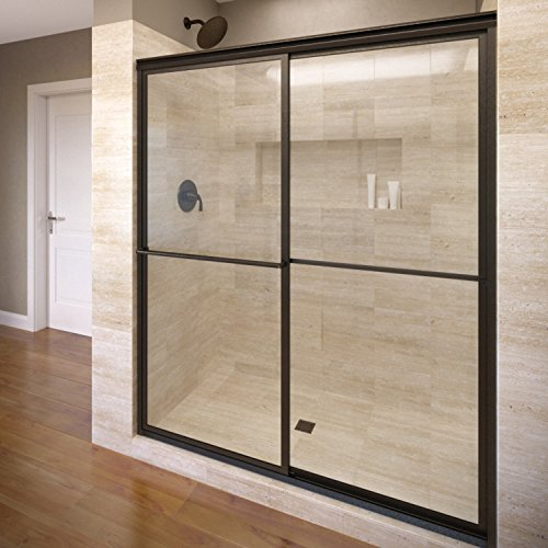 Basco Deluxe Framed Sliding Shower Door, Fits 45-47 inch opening, Clear Glass, Oil Rubbed Bronze Finish
